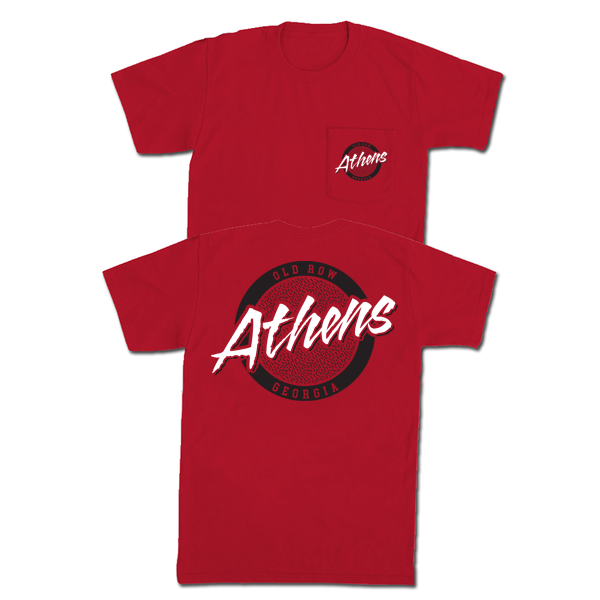 Old Row 'Athens Circle Logo' Pocket Tee - Red