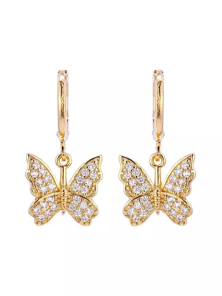 Bracha butterfly huggie earrings