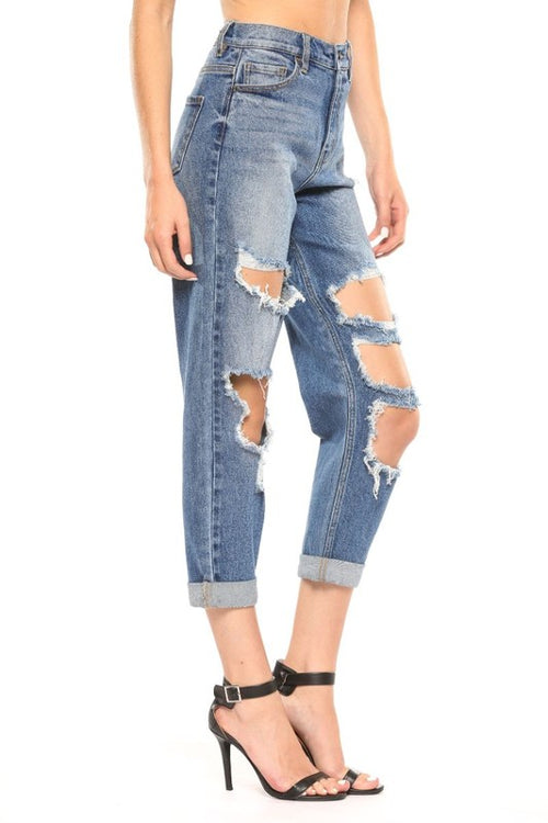Cello High Rise Distressed Mom Jean