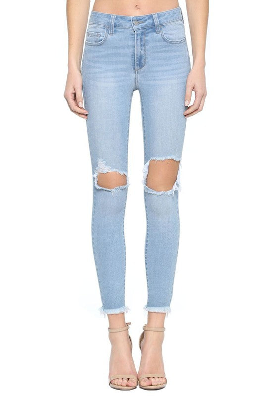 On My Way Mid Rise Distressed Skinny Jeans
