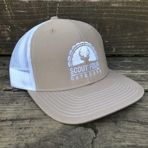 Scout Four Outdoors 'Avery' Trucker Hat - Khaki/White
