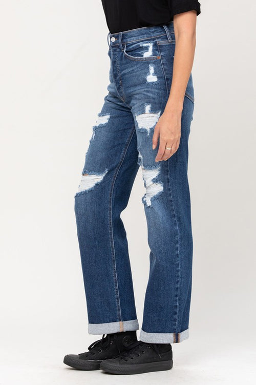 Cello High Waist Destroyed Dad Jeans