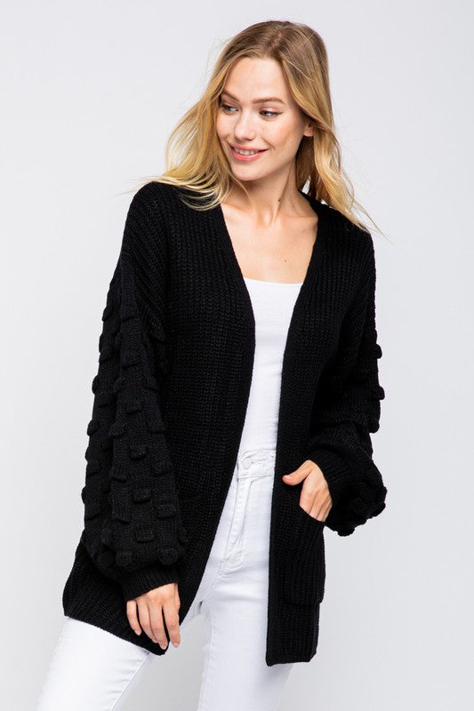black bubble sleeve sweater cardigan