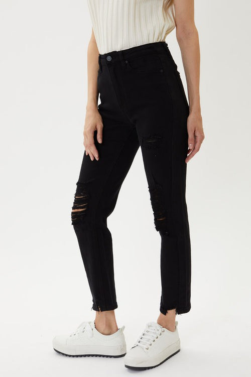 Kan Can High Waist Black Straight Leg Jeans