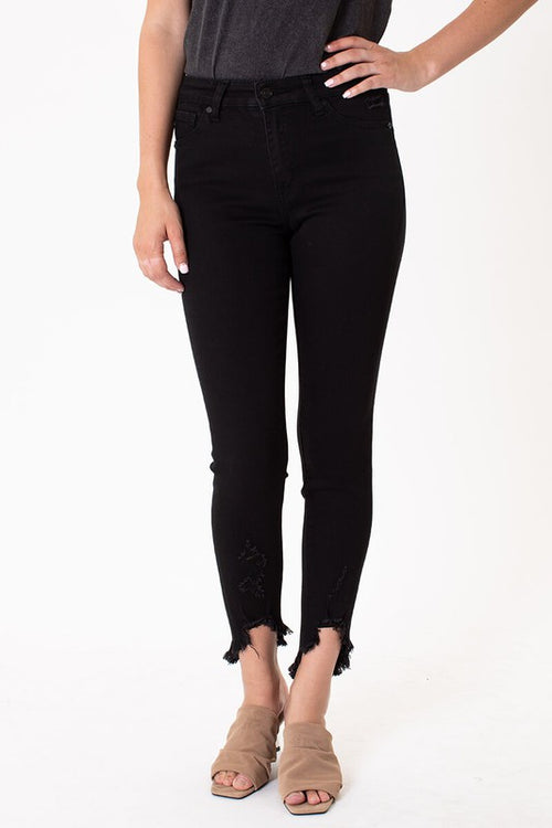 Kan Can High Rise Black Ankle Skinny Jean