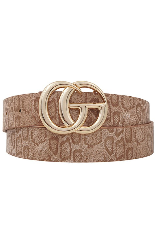 'The Final Touch' Belt - Taupe Snake