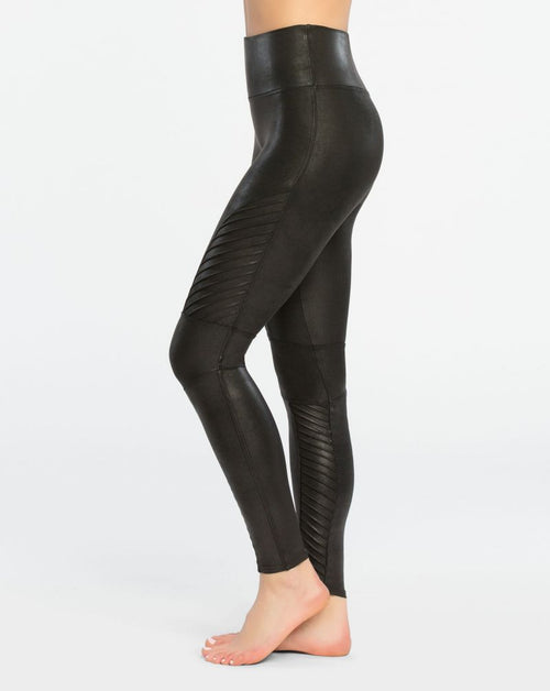 Spanx Faux Leather Very Black Moto Leggings