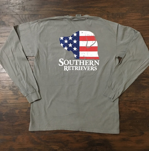 Southern Retrievers 'Dog Flag' Long Sleeve - Grey
