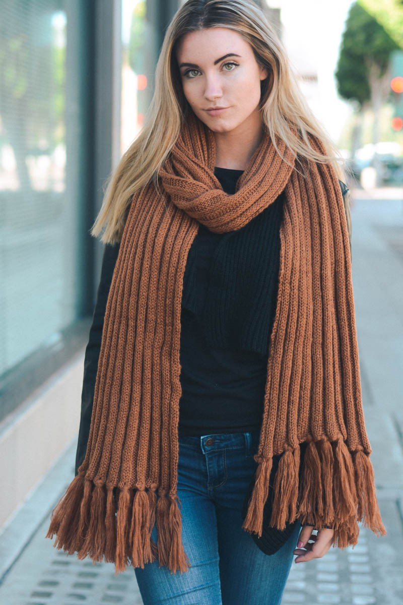 'Winter Weather' Knit Scarf - Brown