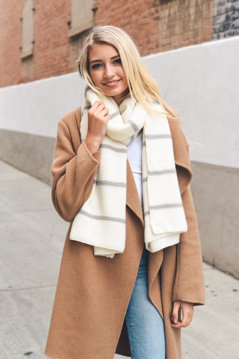 'Warm Stripes' Knit Scarf - Ivory/Grey