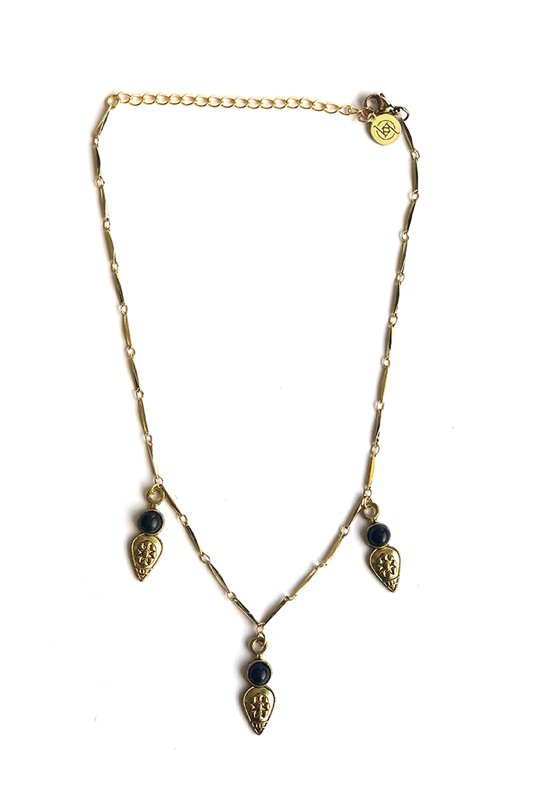 Kristalize 'Adler' Choker Necklace - Black/Gold