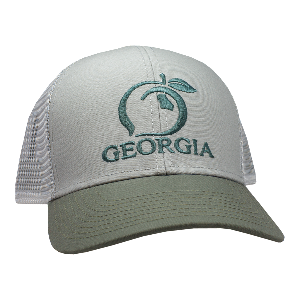 7ef08f1d3865b9 Peach State Pride 'Georgia' Mesh Back Trucker Hat - Olive & Khaki – Purple  Door Boutique & K&L Toggery