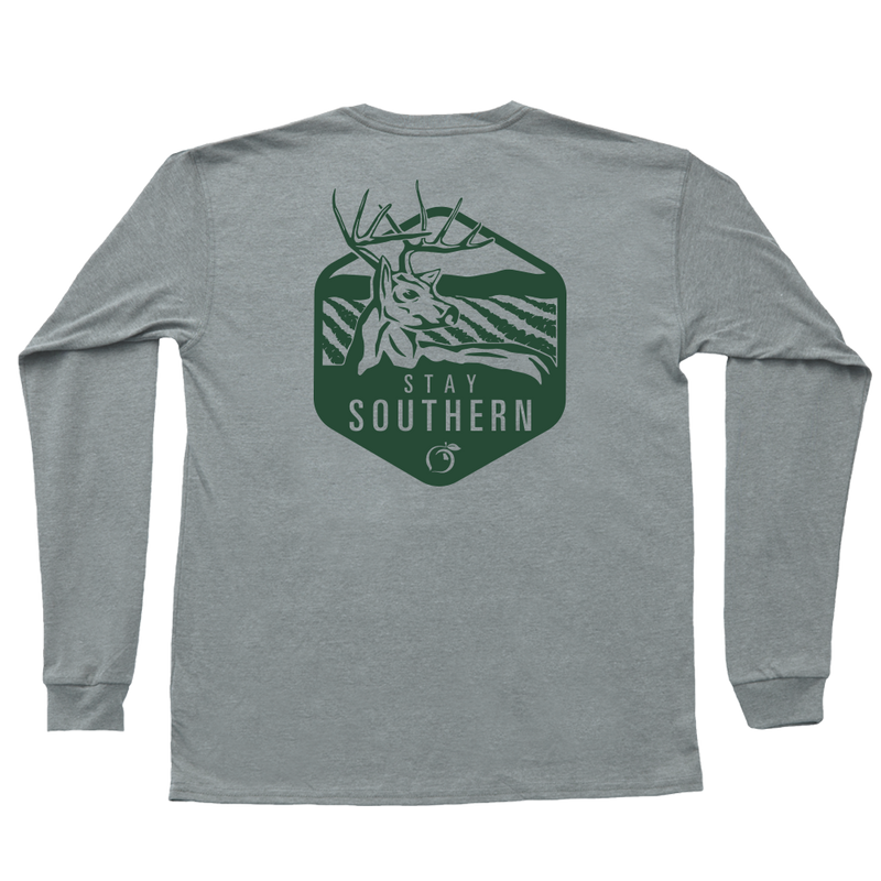 Peach State Pride 'Georgia Buck' Long Sleeve - Gray