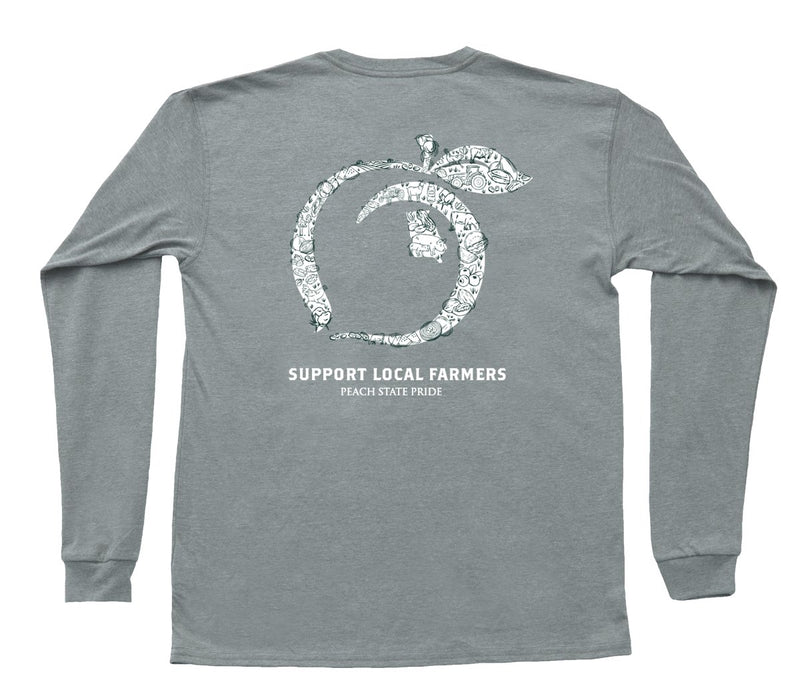 Peach State Pride Support Local Farmers Gray Pocket Tee