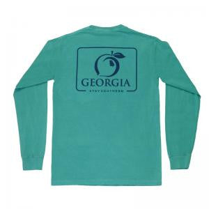 Peach State Pride 'Georgia Patch Tee' Long Sleeve- Seafoam