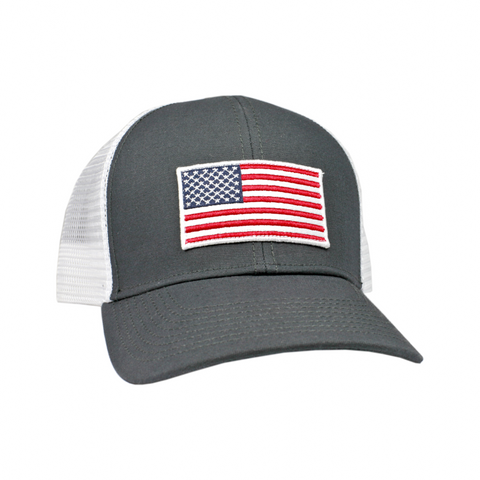 Peach State Pride 'American Flag Mesh Back' Trucker Hat- Charcoal