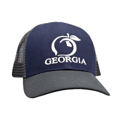 Peach State Pride  Georgia Mesh Back  Trucker Hat - Navy Charcoal Bill 36c74e94c6a6
