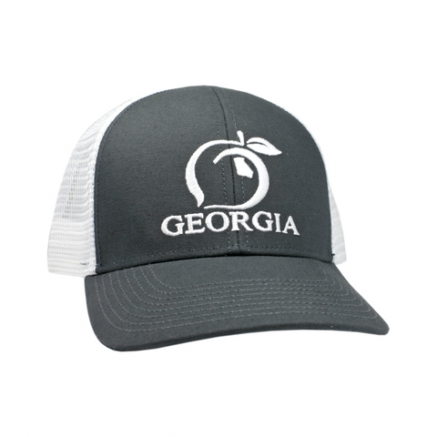 Peach State Pride 'Georgia Mesh Back' Trucker Hat- Charcoal and White