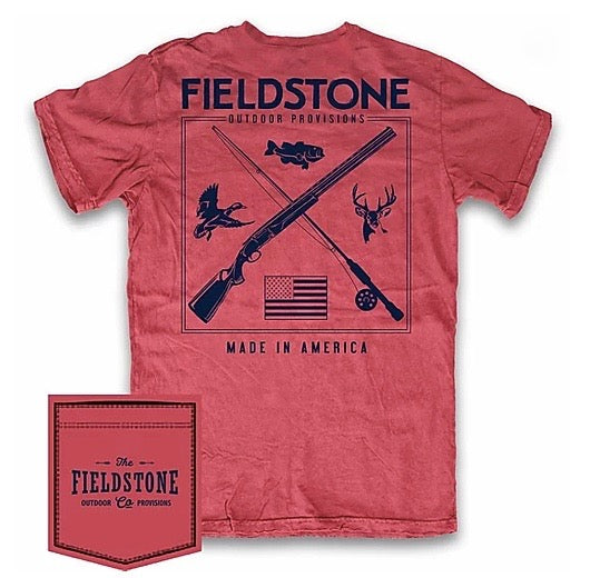 fieldstone outdoors youth huning and fishing tshirt