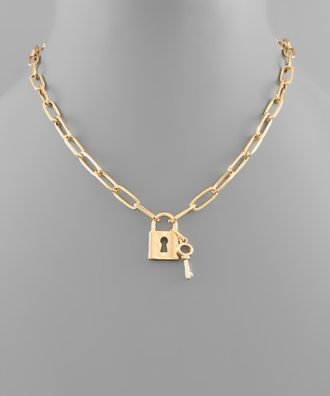 padlock gold chain necklace