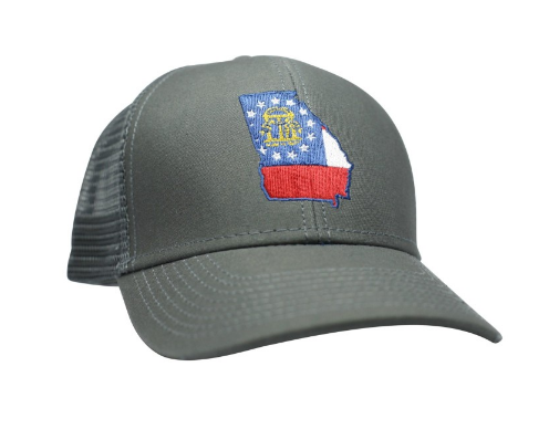Peach State Pride 'Georgia Flag' Mesh Back Trucker Hat- Charcoal