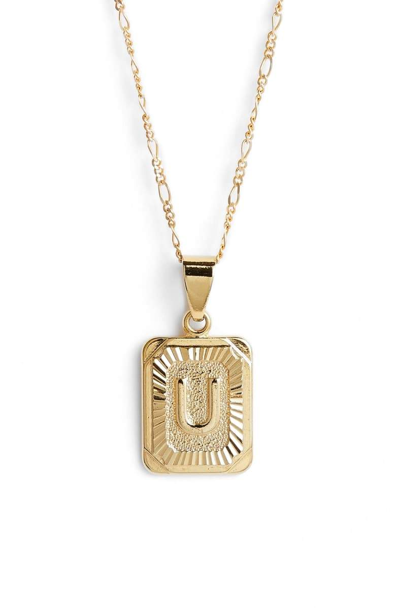 bracha initial card pendant necklace gold filled