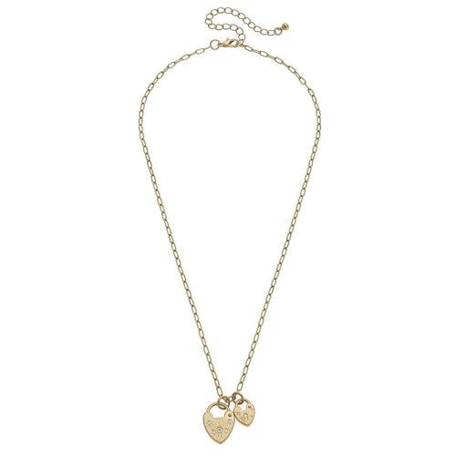 canvas mia heart padlock charm necklace