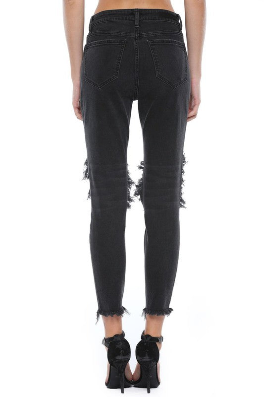 black distressed mom skinny jean