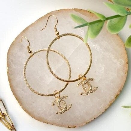 Gold CC Pave Earrings