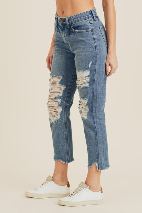 Just Black Denim Destroyed Straight Jeans