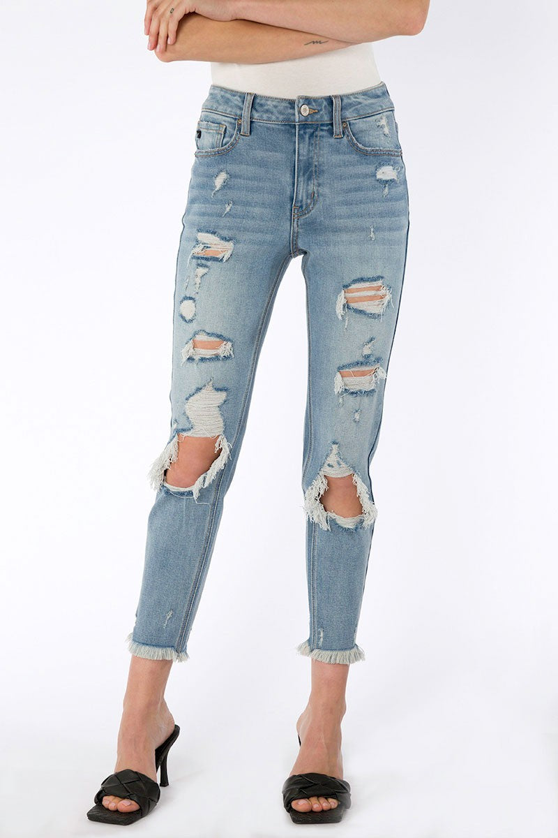 kan can high rise distressed mom jeans