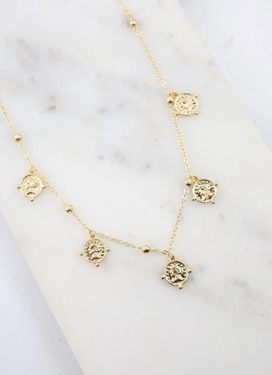 gold coin charm necklace