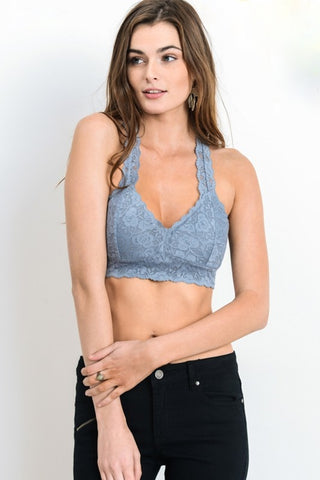'The Classic' Padded Bralette - Misty Blue