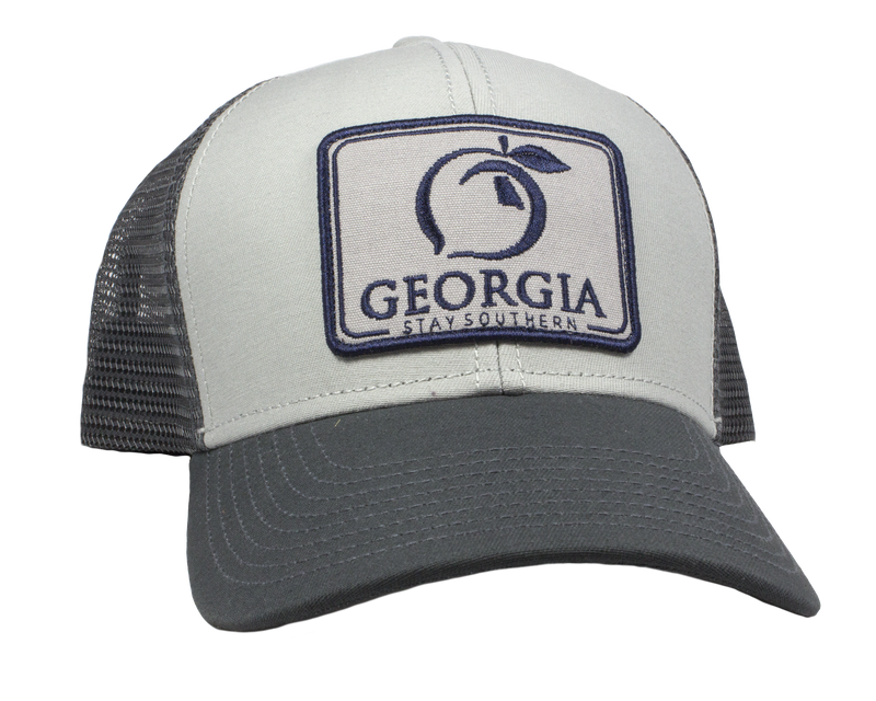 Peach State Pride 'Georgia Patch' Mesh Back Trucker Hat - Ash Grey & Charcoal