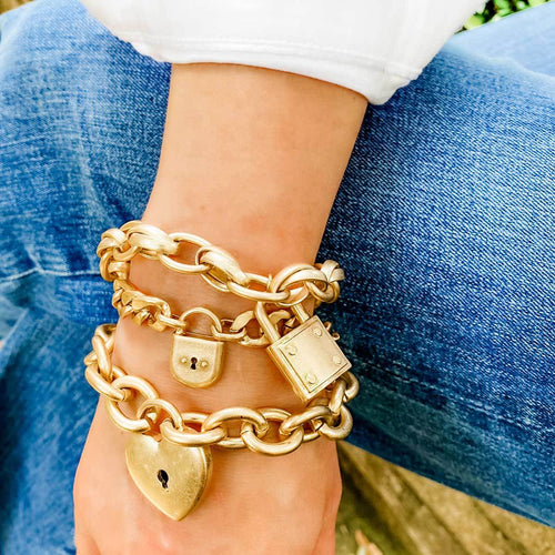 Canvas Jewelry Whitney Padlock Chain Worn Gold Bracelet