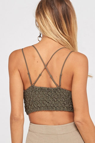 'Lace In Love' Padded Bralette - Olive
