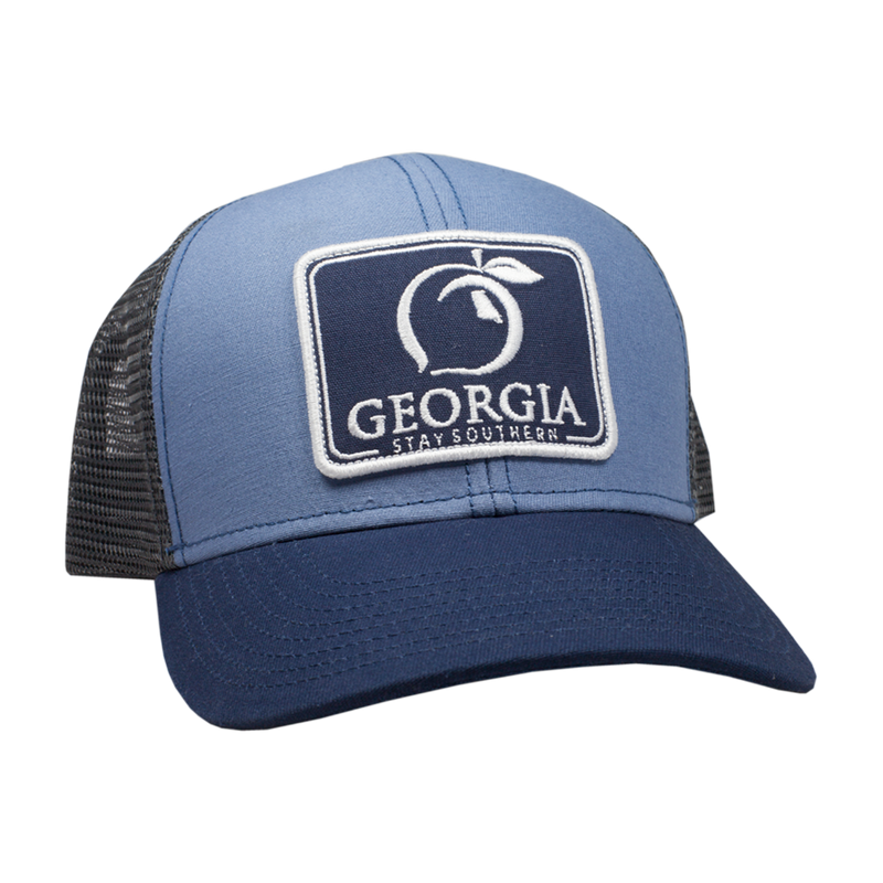 Peach State Pride 'Georgia Patch' Mesh Back Trucker Hat- Navy/Lake Blue
