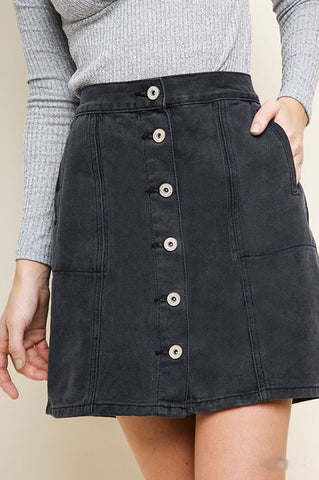 'Right Path' Denim Skirt - Charcoal