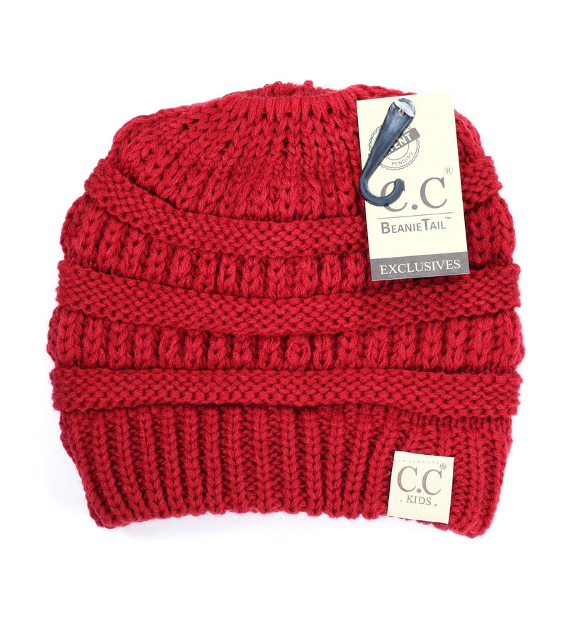 C.C Youth 'Beanietail' Ponytail Beanie - Red