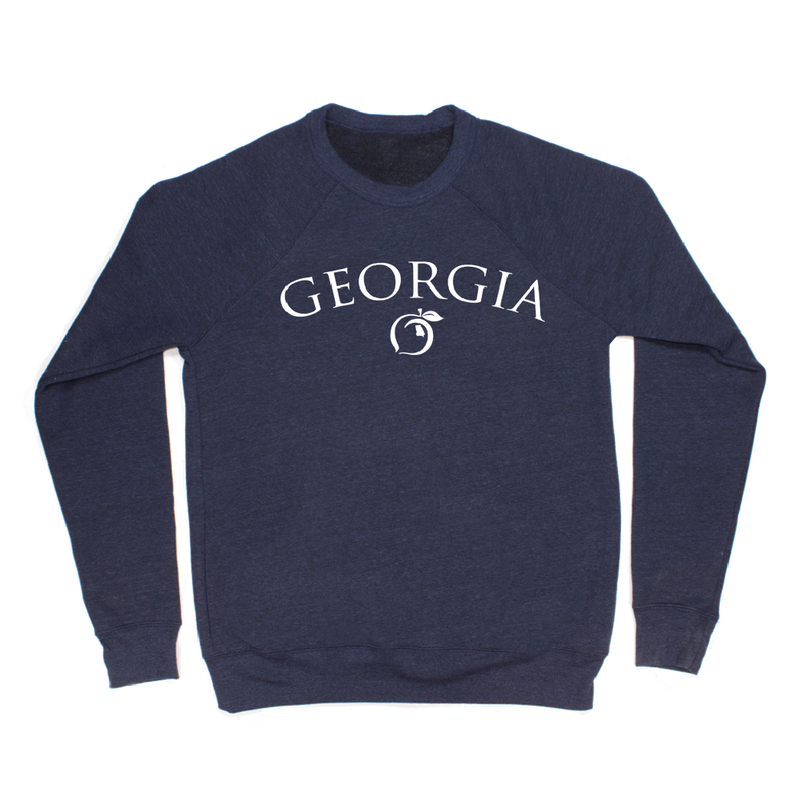 Peach State Pride 'Georgia Peach Mid Weight' Sweatshirt - Grey/Navy