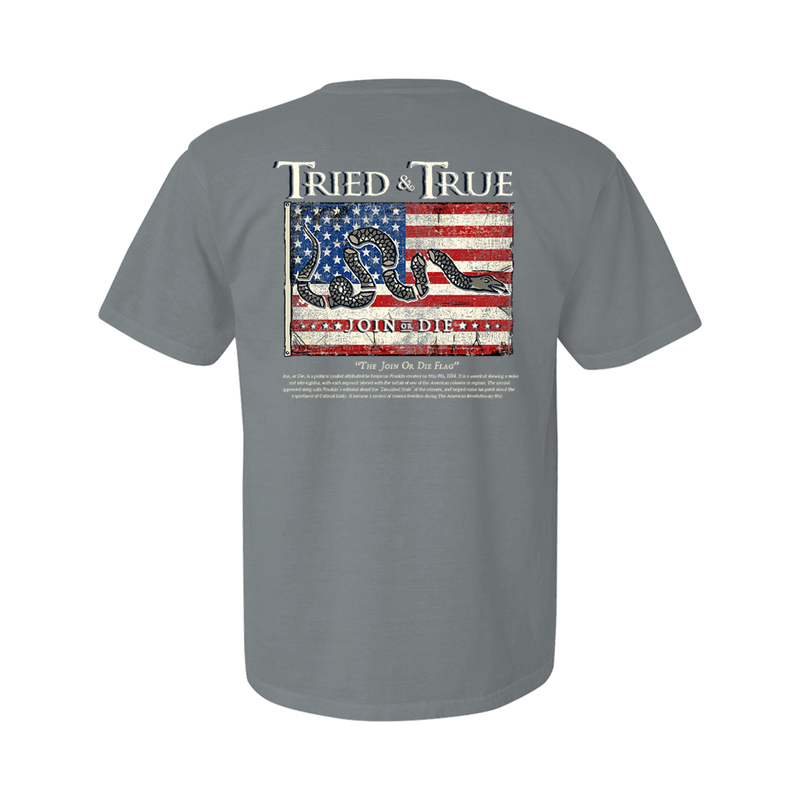 Tried and True Join Or Die Flag Short Sleeve - Granite