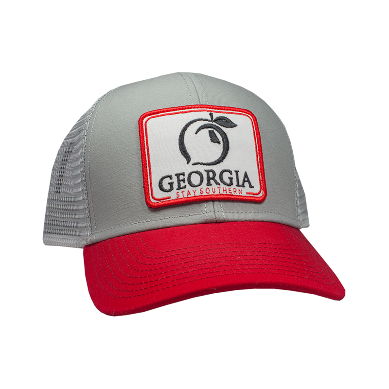 Peach State Pride 'Georgia Patch' Trucker Hat- Ash Grey/Red