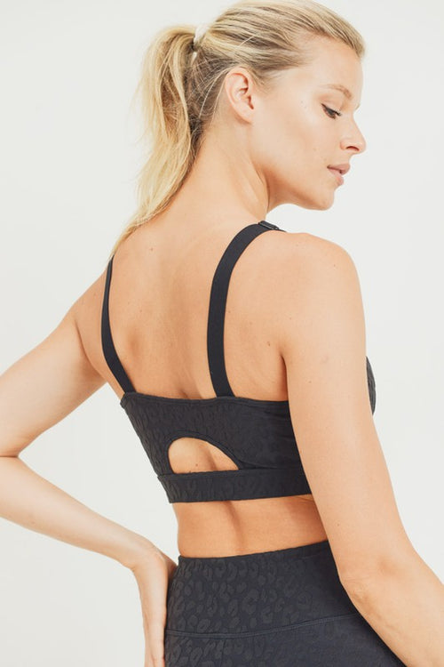 mono b leopard black sports bra