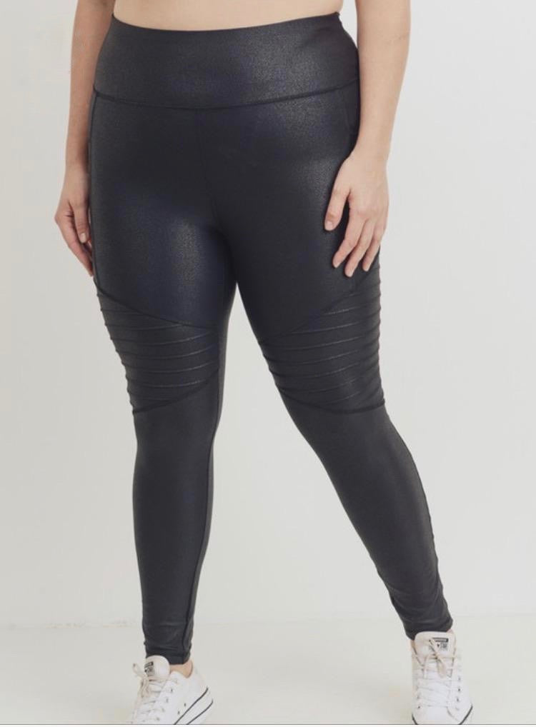 plus size mono b black moto leggings