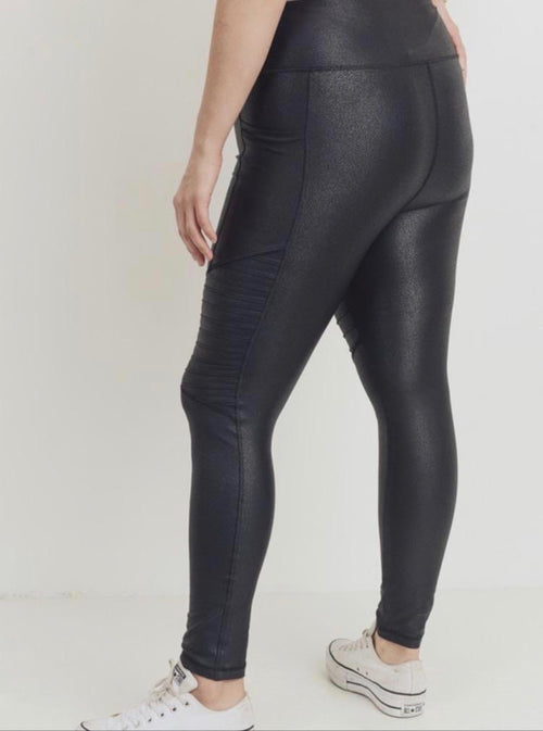 Mono B Foil Scale Moto Black Leggings
