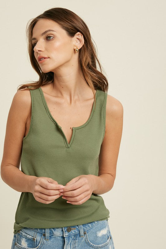 notch detail sage green waffle knit tank