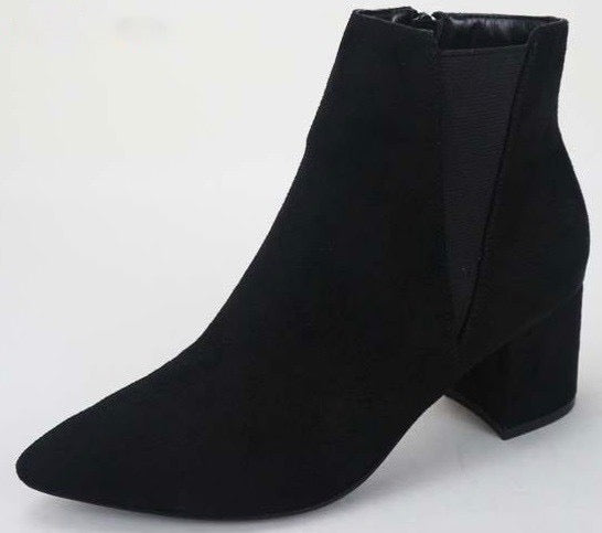 Far Out Chelsea Faux Suede Black Booties