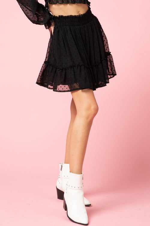 Curvy Girl Sweetest One Ruffled Black Skirt