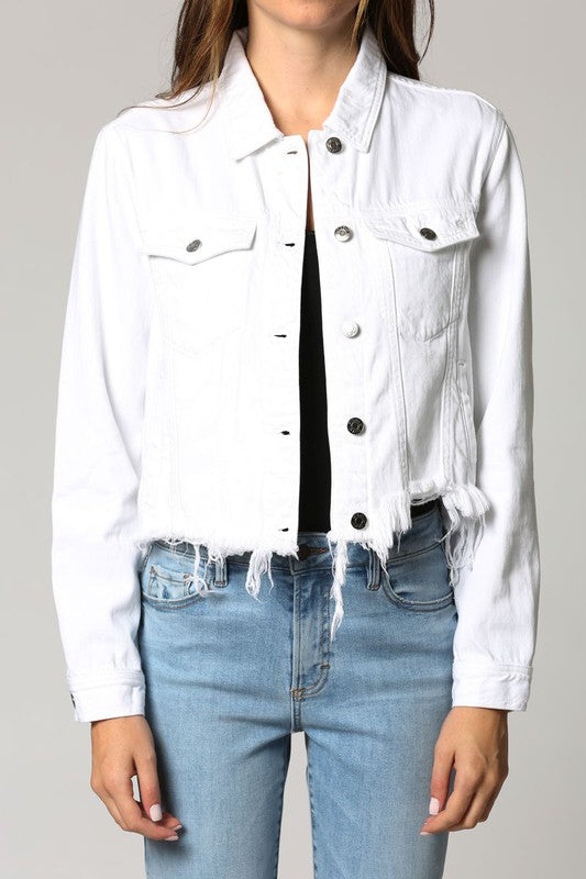 Hidden Jeans Cropped Fitted Jacket - White Denim