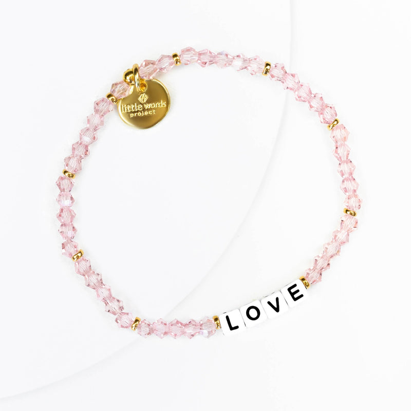 Little Words Project 'Love'  Bracelet - Crystal Gold Collection with white letters
